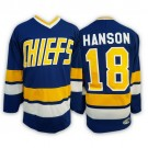 Men's Slap Shot Charlestown Chiefs #18 Jeff Hanson Brothers Navy Hockey Jersey