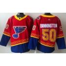 Men's St Louis Blues #50 Jordan Binnington Red 2021 Reverse Retro Authentic Jersey