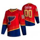 Men's St Louis Blues Customized Red 2021 Reverse Retro Authentic Jersey