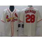Men's St Louis Cardinals #28 Nolan Arenado Cream Cool Base Jersey