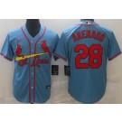 Men's St Louis Cardinals #28 Nolan Arenado Light Blue Cool Base Jersey