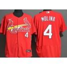 Men's St Louis Cardinals #4 Yadier Molina Red FlexBase Jersey