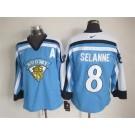 Men's Suomi #8 Teemu Selanne Light Blue Jersey