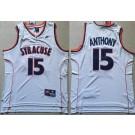 Men's Syracuse Orange #15 Camerlo Anthony White College Basketball Jersey