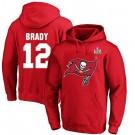 Men's Tampa Bay Buccaneers #12 Tom Brady Red 2021 Super Bowl LV Pullover Hoodie 210307