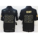 Men's Tennessee Titans #22 Derrick Henry Limited Black 2020 Salute To Service Jersey