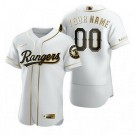 Men's Texas Rangers Customized White Gold 2020 FlexBase Jersey