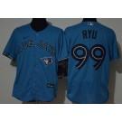 Men's Toronto Blue Jays #99 Hyun Jin Ryu Light Blue FlexBase Jersey
