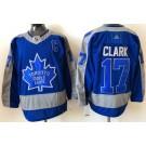 Men's Toronto Maple Leafs #17 Wendel Clark Blue 2021 Reverse Retro Authentic Jersey