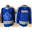 Men's Toronto Maple Leafs #91 John Tavares Blue 2021 Reverse Retro Authentic Jersey