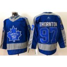 Men's Toronto Maple Leafs #97 Joe Thornton Blue 2021 Reverse Retro Authentic Jersey