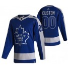 Men's Toronto Maple Leafs Customized Blue 2021 Reverse Retro Authentic Jersey