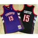 Men's Toronto Raptors #15 Vince Carter Purple Black 1999 Throwback Authentic Jersey