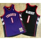 Men's Toronto Raptors #1 Tracy McGrady Purple Black 1999 Throwback Authentic Jersey