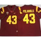 Men's USC Trojans #43 Troy Polamalu Red 2020 College Football Jersey