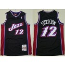 Men's Utah Jazz #12 John Stockton Black 1998 Throwback Swingman Jersey