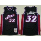 Men's Utah Jazz #32 Karl Malone Purple Black 1998 Throwback Swingman Jersey