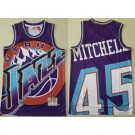 Men's Utah Jazz #45 Donovan Mitchell Purple Hollywood Classic Laser Printing Jersey