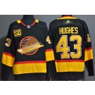 Men's Vancouver Canucks #43 Quinn Hughes Black Yellow 50th Anniversary Authentic Jersey