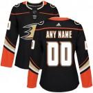 Women's Anaheim Ducks Customized Black Authentic Jersey
