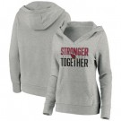 Women's Arizona Cardinals Heather Gray Stronger Together Crossover Neck Printed Pullover Hoodie 0716