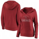 Women's Arizona Cardinals Red Iconic League Leader V Neck Pullover Hoodie