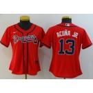 Women's Atlanta Braves #13 Ronald Acuna Jr Red 2020 Cool Base Jersey
