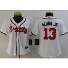 Women's Atlanta Braves #13 Ronald Acuna Jr White 2020 Cool Base Jersey