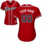 Women's Atlanta Braves Customized Red Cool Base Jersey