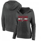 Women's Atlanta Falcons Charcoal First String V Neck Pullover Hoodie