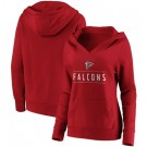 Women's Atlanta Falcons Red Iconic League Leader V Neck Pullover Hoodie