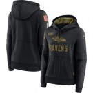 Women's Baltimore Ravens Black 2020 Salute To Service Pullover Hoodie