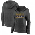 Women's Baltimore Ravens Charcoal First String V Neck Pullover Hoodie