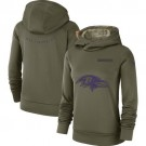 Women's Baltimore Ravens Olive Salute To Service Printed Pullover Hoodie