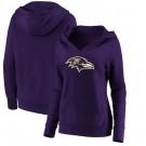 Women's Baltimore Ravens Purple Primary Team Logo V Neck Pullover Hoodie
