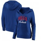 Women's Buffalo Bills Blue Victory Script V Neck Pullover Hoodie