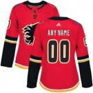 Women's Calgary Flames Customized Red Authentic Jersey