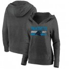 Women's Carolina Panthers Charcoal First String V Neck Pullover Hoodie