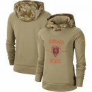 Women's Chicago Bears Khaki 2019 Salute to Service Therma Printed Pullover Hoodie