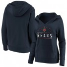 Women's Chicago Bears Navy Iconic League Leader Victory Script V Neck Pullover Hoodie