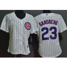 Women's Chicago Cubs #23 Ryne Sandberg White Cool Base Jersey
