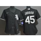 Women's Chicago White Sox #45 Michael Jordan Black Cool Base Jersey