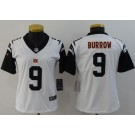Women's Cincinnati Bengals #9 Joe Burrow Limited White Rush Color Jersey