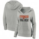 Women's Cincinnati Bengals Heather Gray Stronger Together Crossover Neck Printed Pullover Hoodie 0723
