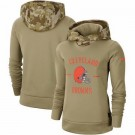 Women's Cleveland Browns Khaki 2019 Salute to Service Therma Printed Pullover Hoodie