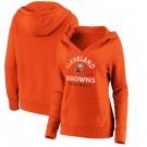 Women's Cleveland Browns Orange Vintage Arch V Neck Pullover Hoodie