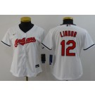 Women's Cleveland Indians #12 Francisco Lindor White 2020 Cool Base Jersey