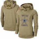 Women's Dallas Cowboys Khaki 2019 Salute to Service Therma Printed Pullover Hoodie