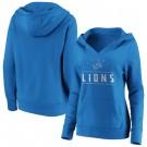 Women's Detroit Lions Blue Iconic League Leader V Neck Pullover Hoodie