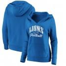 Women's Detroit Lions Blue Victory Script V Neck Pullover Hoodie